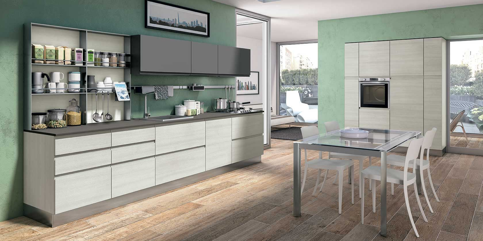 Cucina Creo-Kitchens Lube Cucine Moderna Con Maniglia Integrata ...
