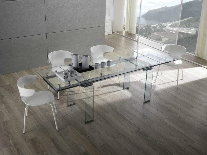 Tavolo Moderno Tutto In Vetro Allungabile Di Design Modello Glass ...