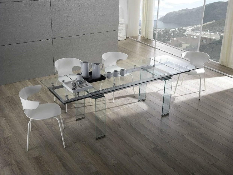 Tavolo moderno tutto in vetro allungabile di design - Tavolo di vetro allungabile ...