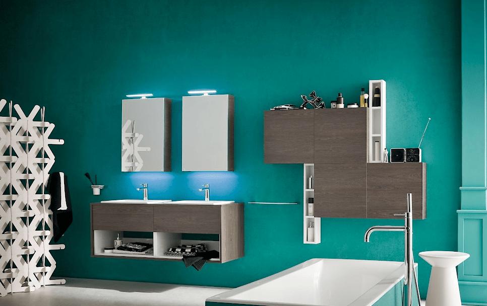 Mobile da bagno sospeso con due lavabi modello b201 art 32 - Bagno con due lavabi ...