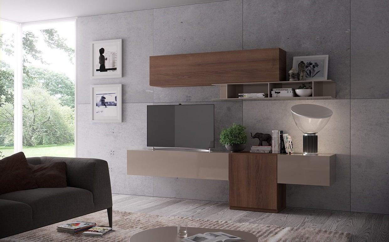 Soggiorno moderno componibile sospeso giessegi 522 living for Soggiorno living moderno