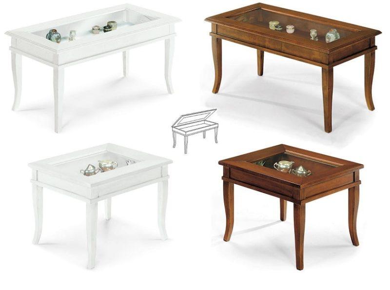 Tavolino Da Soggiorno Classico Tinta Noce Modello Bacheca ...