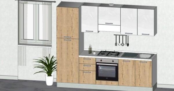 Cucina moderna in promozione completa di elettrodomestici for Regalo cassettiera
