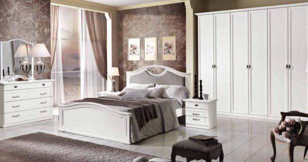 Camera matrimoniale classica bianca con inserti modello dafne mobil discount - Camera matrimoniale classica ...