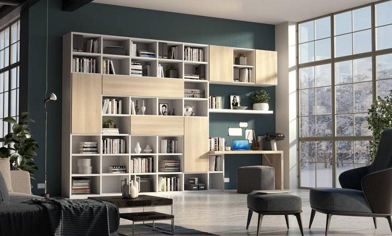 Soggiorno Libreria Componibile Con Ante E Vani A Giorno Modello ...