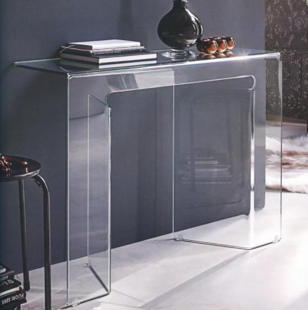 Tavolo consolle in vetro moderna modello sagitta mobil for Consolle in vetro