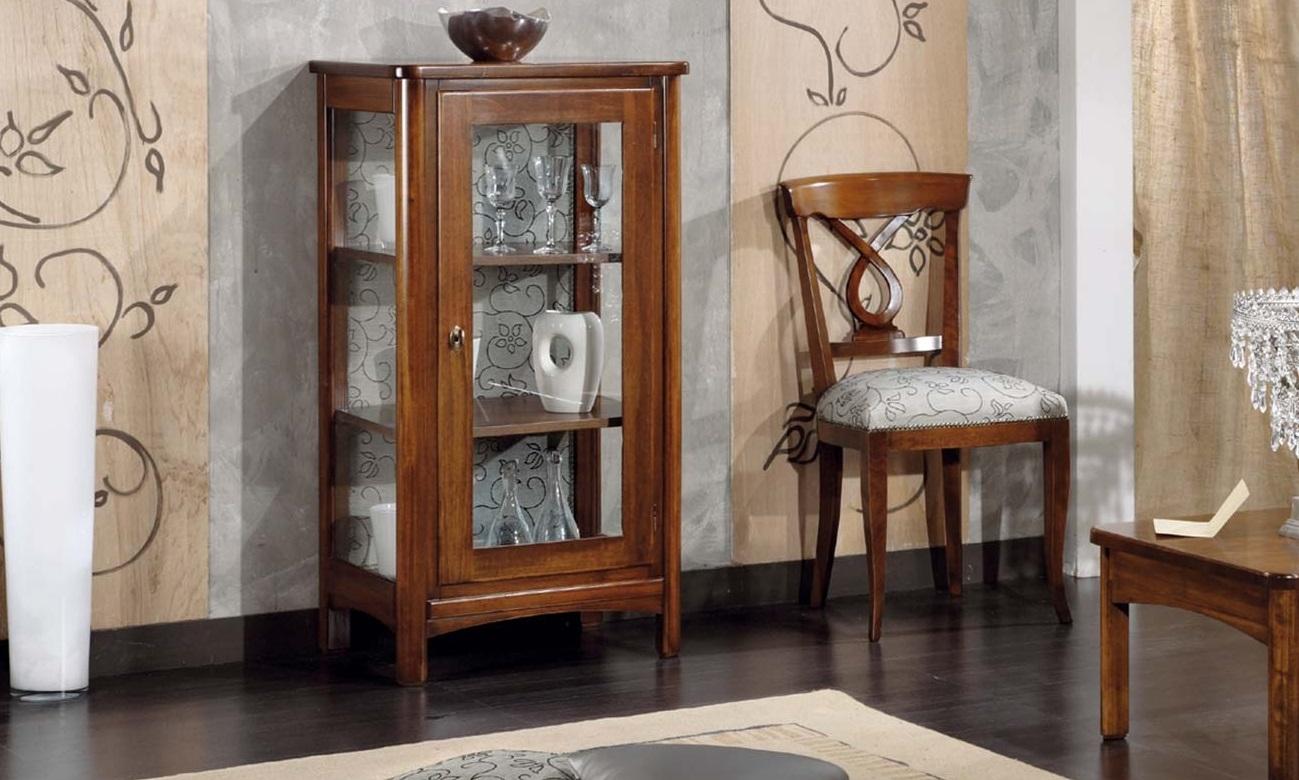 Argentiera in vetro e legno massiccio tinta noce mobil for Vetrinetta bassa arte povera
