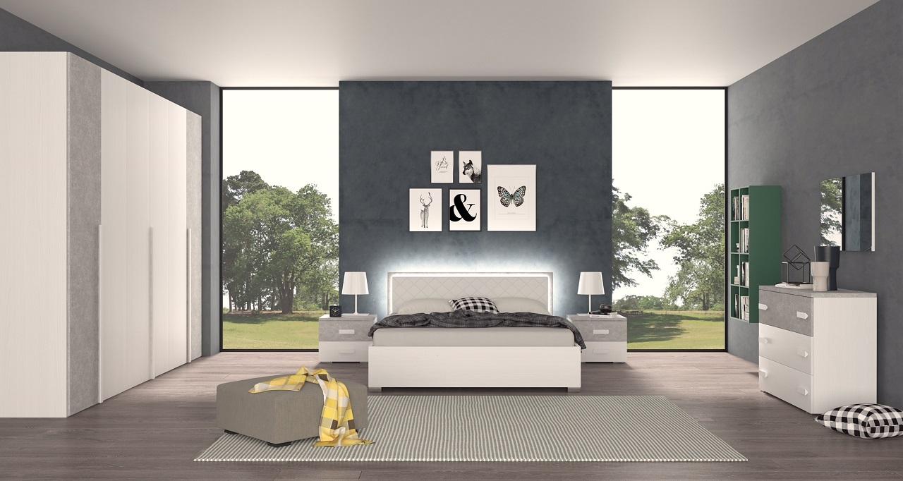 Camera matrimoniale moderna con letto contenitore e luci for Offerta camera letto