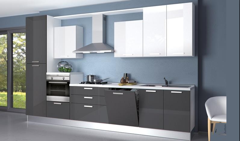 Cucina bloccata creo kitchens cm 360 alta con for Cucina moderna laccata lucida